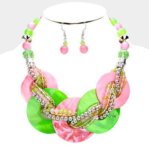 Alpha Kappa Alpha Shell Bib Necklace Set