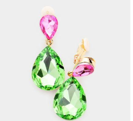 Pink & Green Clip Earrings