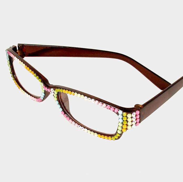Rectangular Crystal Reading Glasses-Multi-Brown Frames