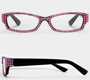 Rectangular Crystal Reading Glasses-Pink
