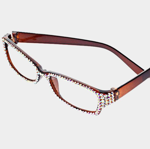 Rectangular Crystal Reading Glasses-AB Brown Frames