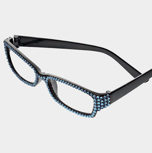 Rectangular Crystal Reading Glasses-Montana Blue/Black Frames