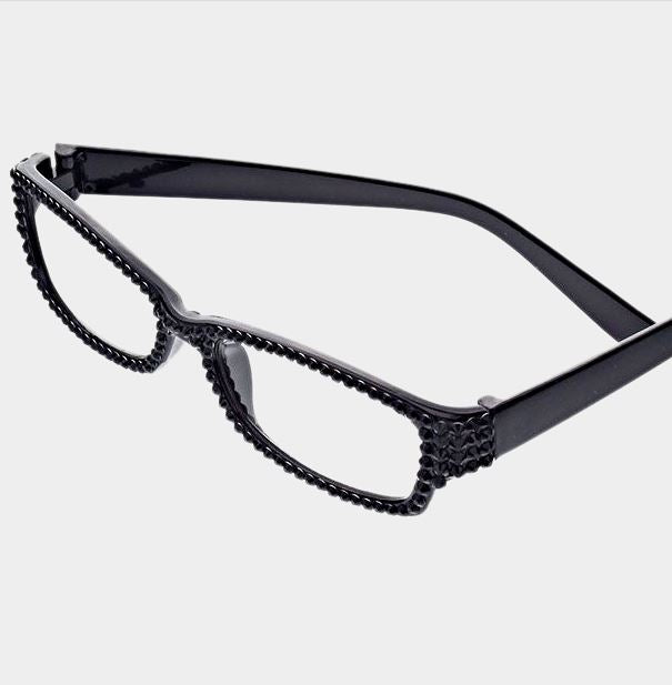 Rectangular Crystal Reading Glasses-Black