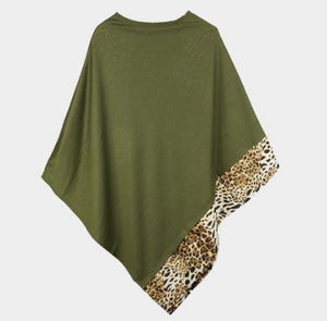 Solid Animal Trim Poncho-Green