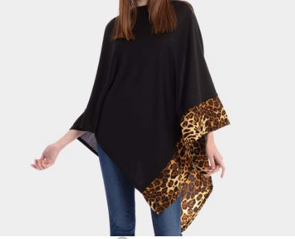 Solid Animal Trim Poncho-Black