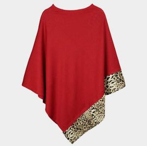 Solid Animal Trim Poncho-Red
