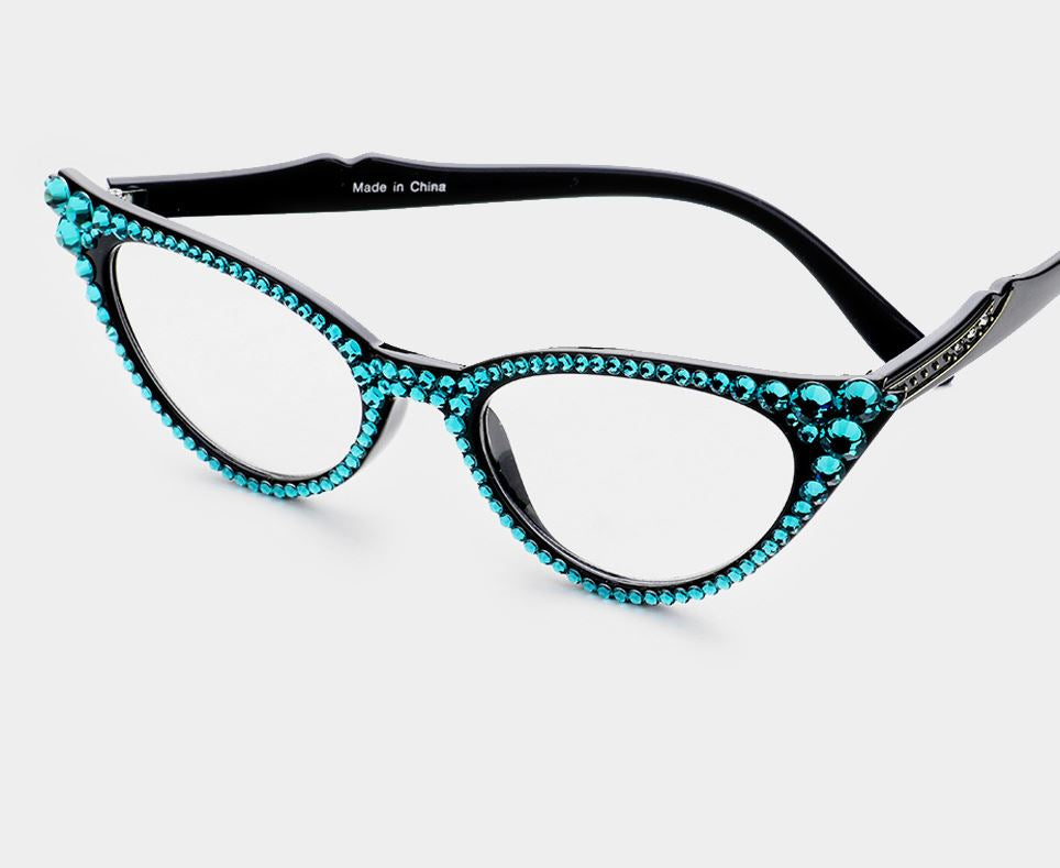 Cat Eye Fashion Crystal Readers - Blue/Black