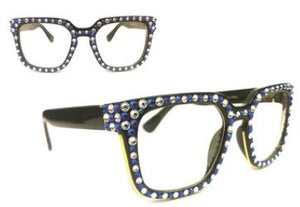 Swarovski Stones Fashion Glasses-Black/Blue