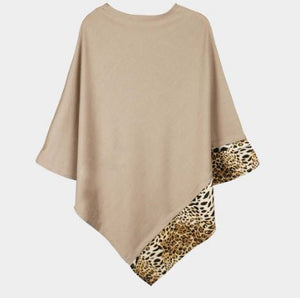 Solid Animal Trim Poncho-Taupe