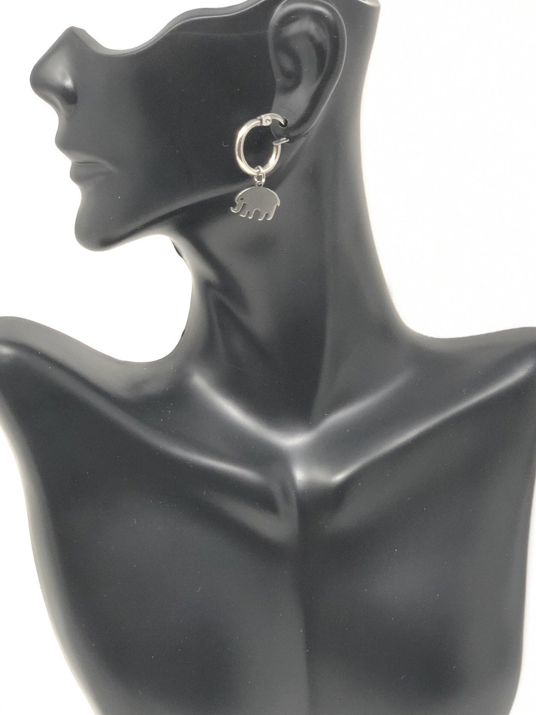 Silver Small Elephant Hoop Earrings