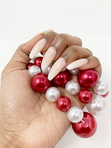 3PC Layer Pearl Bracelets - Red/White