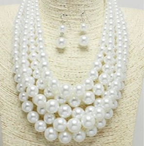 5 Strand Pearl Necklace Set-White