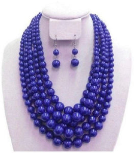 5 Strand Pearl Necklace Set - Blue