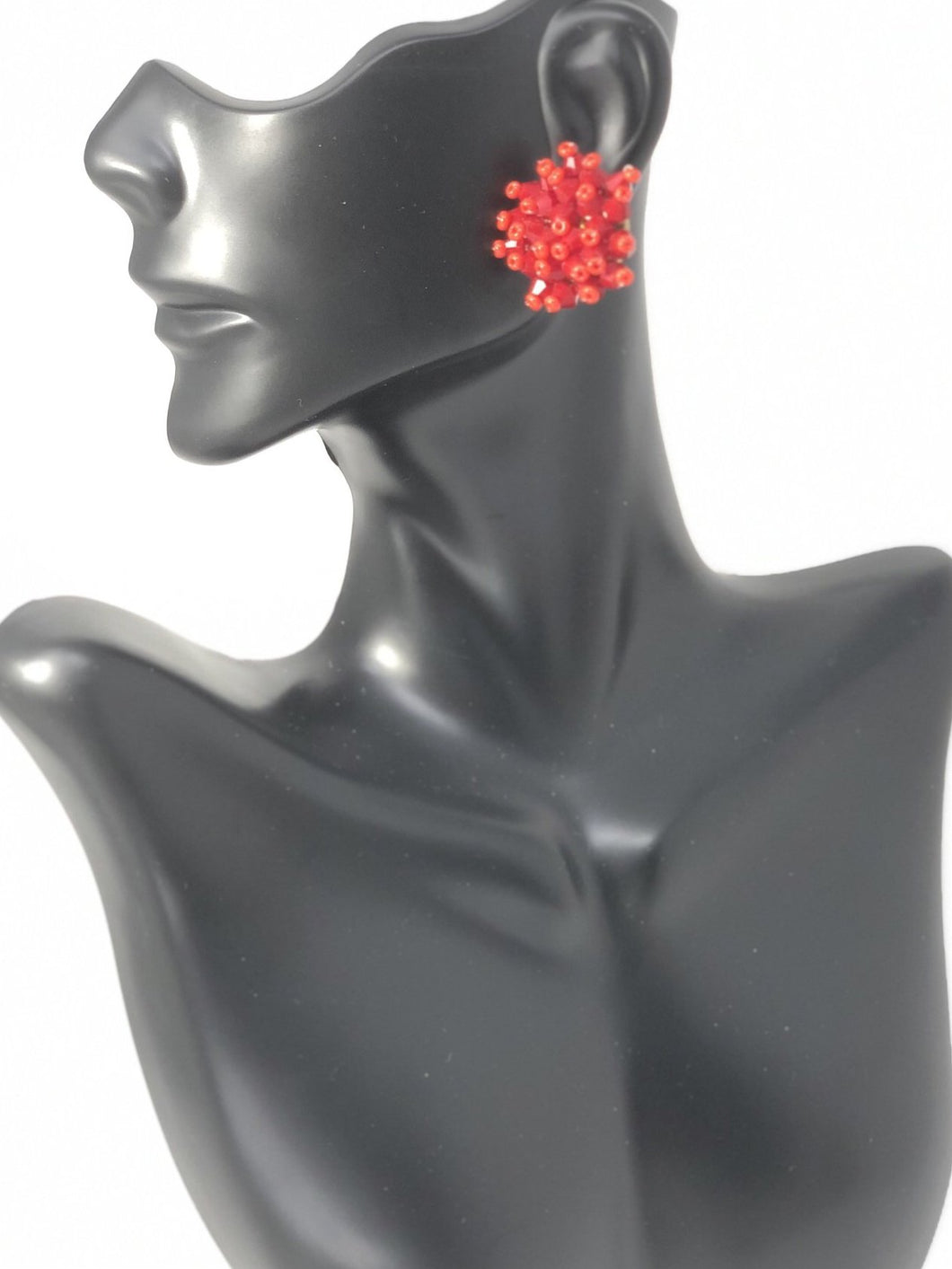 Lucite Post Red Earrings