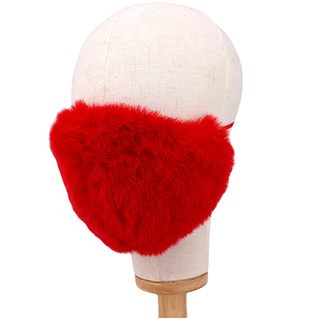 Faux Fur Mask - Red