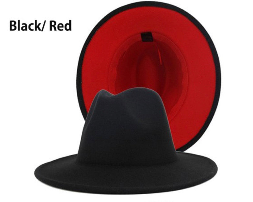 Unisex Fedora 2 Tone Hat-Black/Red
