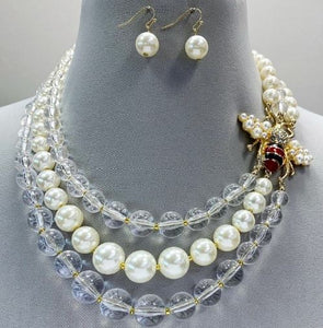 Triple Pearl Clear Necklace Set