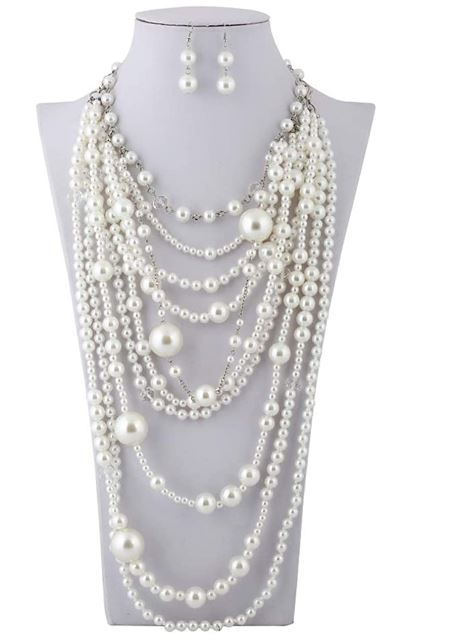 White Multi Long Pearl Necklace Set