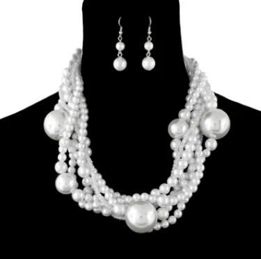 Multi Strand White Round Ball Pearl Necklace Set