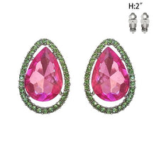 Load image into Gallery viewer, Tear Drop Pink & Green Clip Earrings