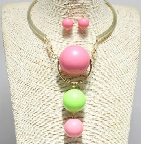 Pink & Green Fashion Choker Set