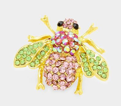 Green & Pink Honey Bee Pin