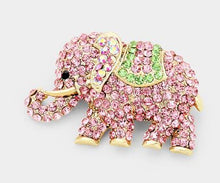 Load image into Gallery viewer, Pink & Green Elephant Brooch