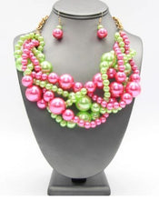 Load image into Gallery viewer, Multi Pink & Green Pearl Necklace Set