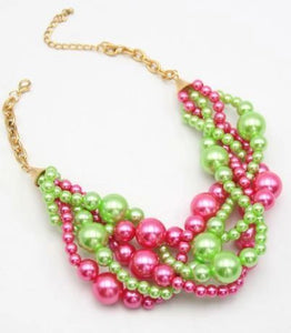 Multi Pink & Green Pearl Necklace Set