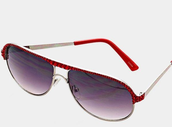 Crystal Aviator Sunglasses - Red