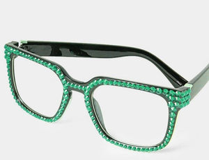 Fashion Square Crystal Green Eyeglasses