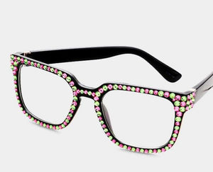 Fashion Square Crystal Black/Pink & Green Eyeglasses