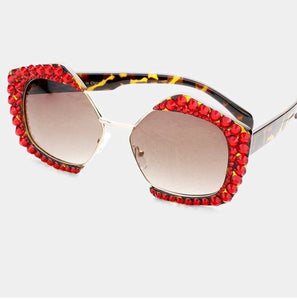 Rhinestone Octagon Red Fashion