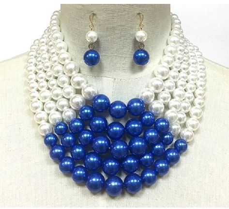 Sorority Pearls & Necklace Set-Blue/White