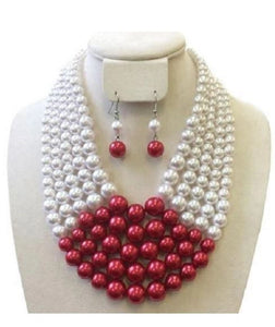 Sorority Pearls & Necklace Set-Red/White