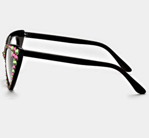 Fashion Clear Pink & Green Eyeglasses