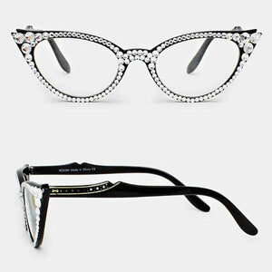 Fashion Crystal Cat Eyeglasses