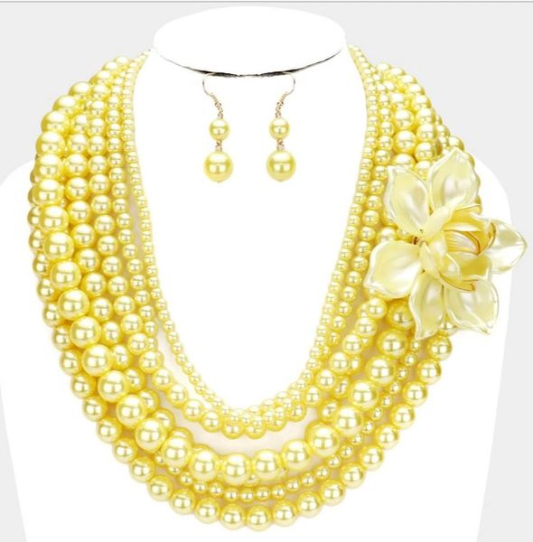 Multi Strand Pearl Necklace Set-Yellow/Flower