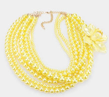 Load image into Gallery viewer, Multi Strand Pearl Necklace Set-Yellow/Flower