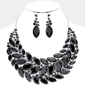 Crystal Black Bib Necklace Set