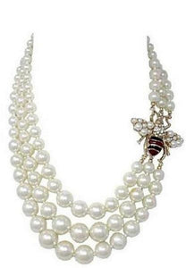 3 Layer Creme Pearl Bee Necklace