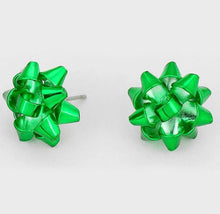 Load image into Gallery viewer, Metal Stud Gift Bow Earrings - Green