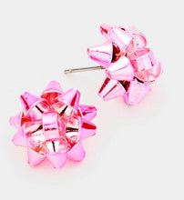 Load image into Gallery viewer, Metal Stud Gift Bow Earrings - Pink