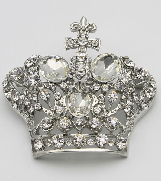 Silver Clear Crystal Crown Brooch