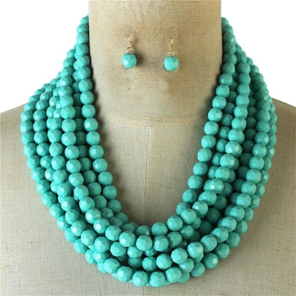 Multilayered Bead Necklace Set-Turquoise