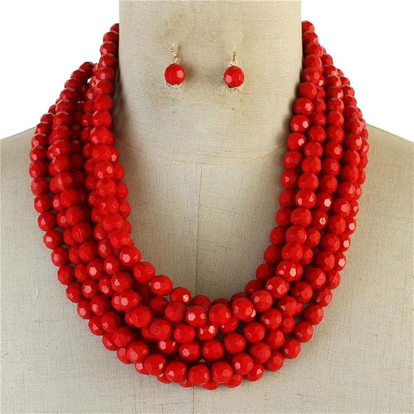 Multilayered Bead Necklace Set-Red