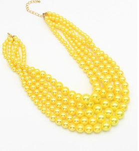 5 Strand Pearl Necklace Set - Yellow