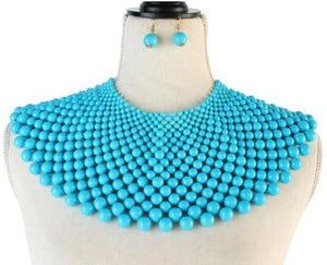 Bib Fashion Collar Choker Necklace Set-Sky Blue