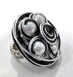 Stretch Black/Silver Wire Ring