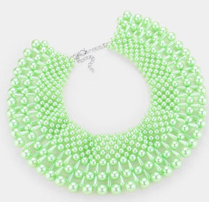 Pearl Collar Necklace Set - Green